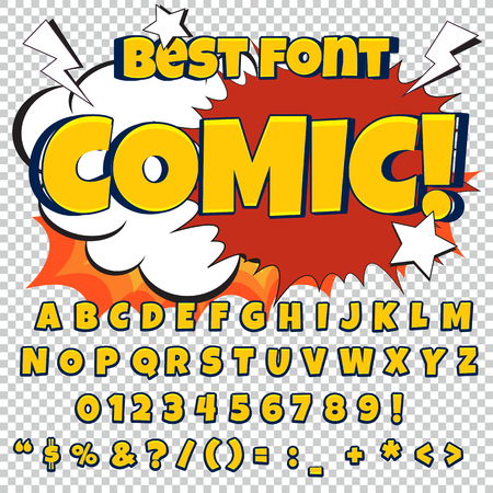 Comic blue alphabet set. Letters, numbers and figures for kids illustrations websites comics banners.