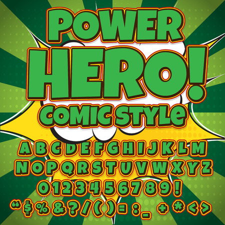 fx: Comic green alphabet set. Letters, numbers and figures for kids illustrations.