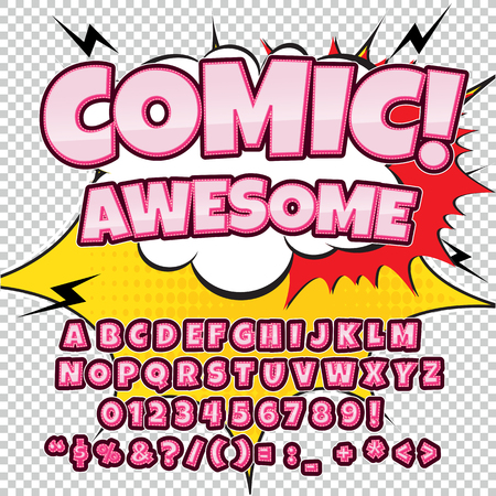 clash: Creative high detail comic font. Alphabet in the style of comics, pop art. Letters and figures for decoration of kids illustrations, websites, posters, comics and banners.