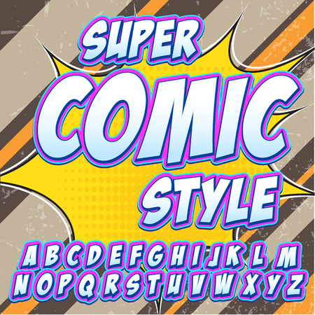 bam: Creative high detail comic font. Alphabet in the style of comics, pop art. Letters and figures for decoration of kids