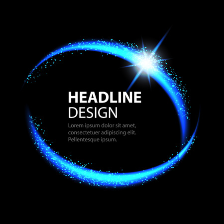 Round energy frame. Shining circle banner. Magic light neon energy circle. Glowing fire ring trace. Reklamní fotografie - 60342202