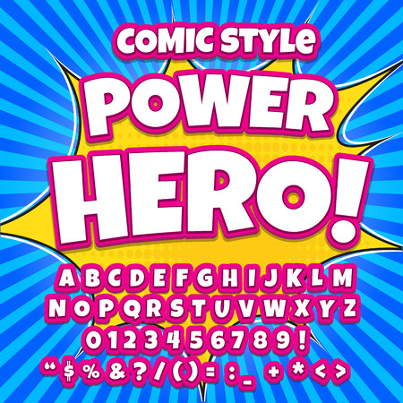 Comic alphabet set. Pink color version. Letters, numbers and figures for kids illustrations websites comics banners.