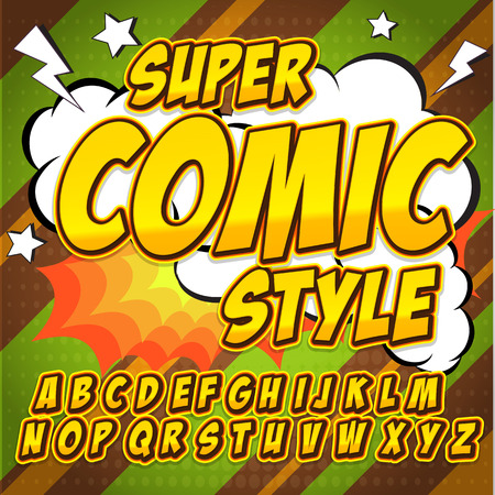 Comic yellow alphabet set. Letters, numbers and figures for kids illustrations. Illustration