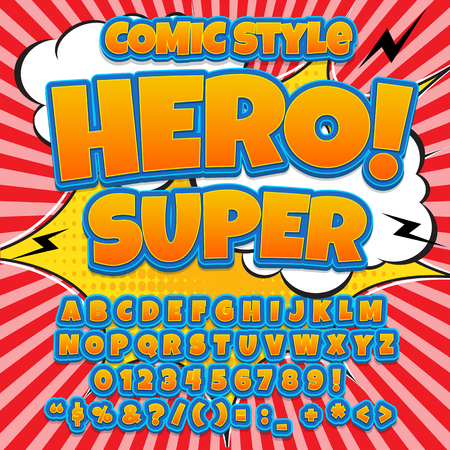 Creative high detail comic font. Alphabet in the style of comics, pop art. Letters and figures for decoration of kids