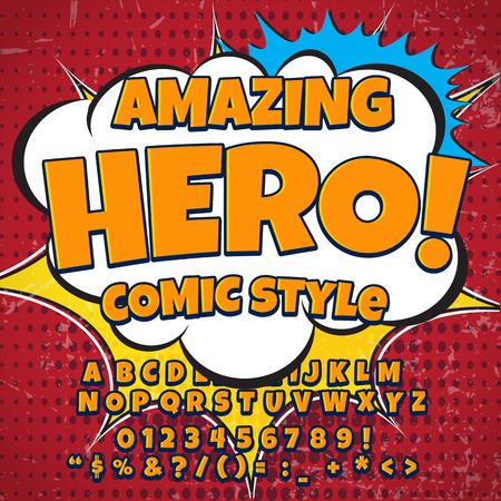 Creative high detail retro comic font. orange color hero style of comics, pop art. Letters and figures for decoration Illustration