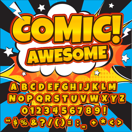 Alphabet collection set. Comic pop art style. Letters, numbers and figures for kids illustrations, books