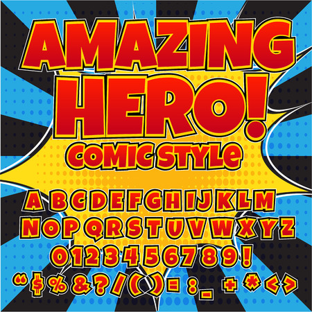 Creative high detail comic font. Red color hero style of comics, pop art. Letters and figures for decoration Illustration