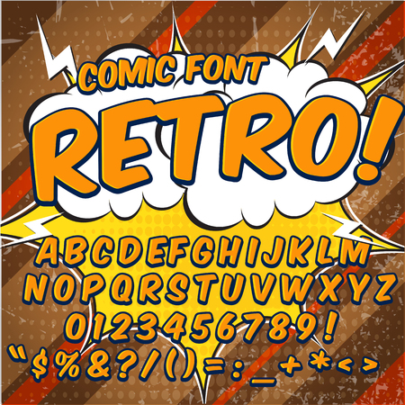 bam: Creative high detail comic font. Alphabet in the style of comics, pop art. Letters and figures for decoration of kids. Illustration