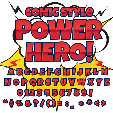 clash: Comic alphabet set. Letters, numbers and figures for kids illustrations websites comics banners.