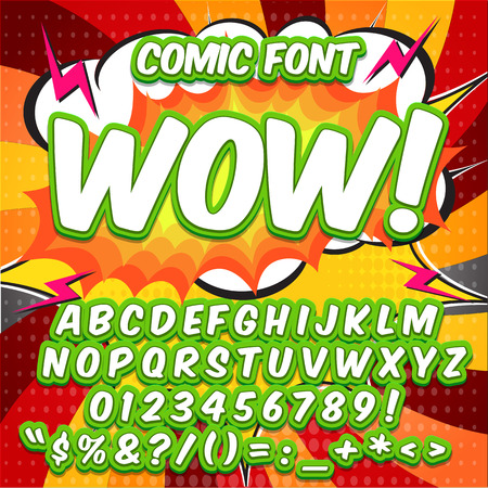 Alphabet collection set. Comic pop art style. Light green and white color version.