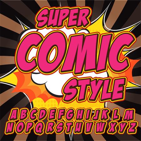 fx: Alphabet collection set. Comic pop art style. Light pink color version.