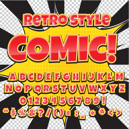 Creative high detail comic font. Alphabet in the style of comics, pop art. Ilustração