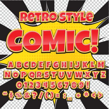 Creative hoog detail comic lettertype. Alfabet in de stijl van de strips, pop art.