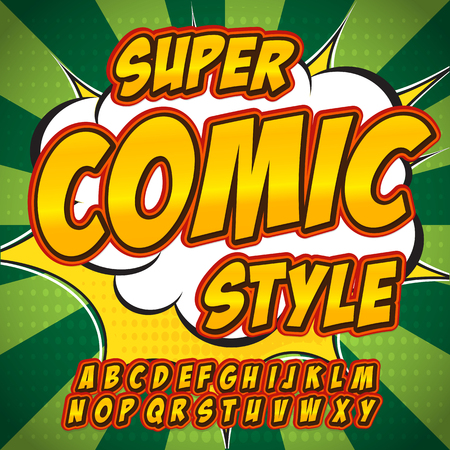 Creative high detail comic font. Alphabet in the style of comics, pop art. Letters and figures for decoration of kids. Illustration