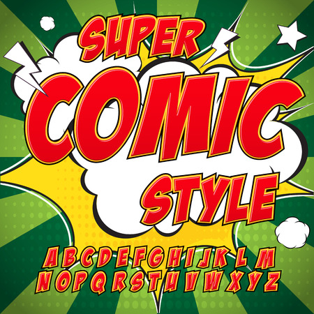 Creative high detail comic font. Alphabet in the style of comics, pop art