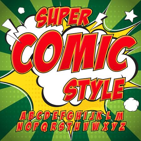Creative hoog detail comic lettertype. Alfabet in de stijl van de strips, pop art