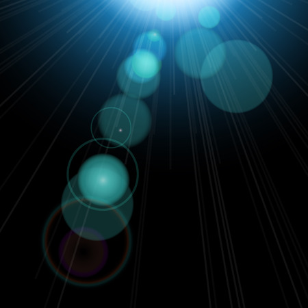 reflex: Lighting effects of flash. Easy to use. Star with lens flare and bokeh effect. Illustration