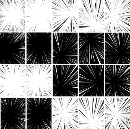 blowup: Comic book superhero pop art style black and white radial lines background. Manga or anime speed frame. Big collection of Explosion.
