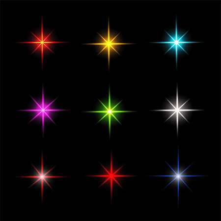glimmer: Collection of sparkle vector. Colored symbols. Symbols sparkling stars. Easy to use.
