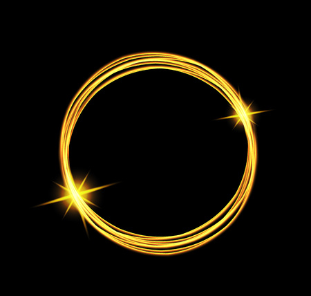 light trail: Magic light energy circle. Glowing fire ring trace. Glitter sparkle swirl trail effect on black background