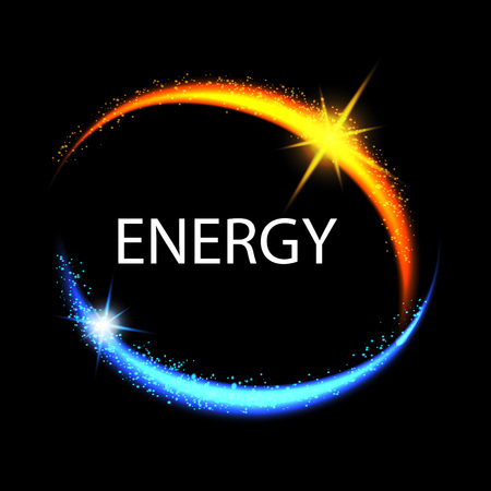 semitransparent: Energy frame. Shining circle banner. Magic light neon energy circle. Glowing fire ring trace Illustration