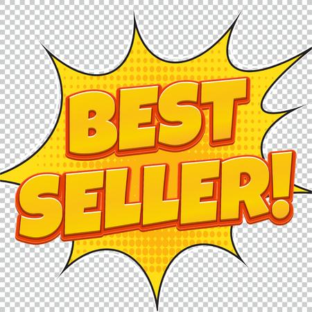 Best Seller. Sale banner. Comic pop art style. Banner design. Banner template. Best product sale. Design of the yellow explosion flyer pop art comic sale discount promotion. Illustration