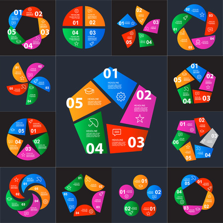 indexing: Set of infographics step by step in the form of polygons. Charts, graphs, diagrams, options, parts, processes. Easy to use for your business projects templates for presentation and report.