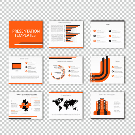 keynote: Multipurpose template for presentation slides with graphs and charts - orange and black version. Perfect for your business report or personal use. Illustration