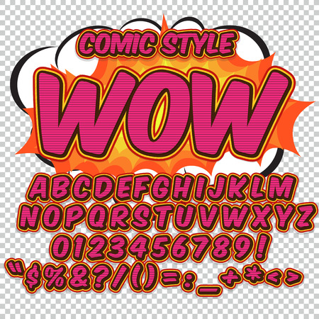 Creative high detail comic font. Alphabet of comics, pop art. Letters and figures for decoration of kids illustrations, websites, posters, comics and banners.