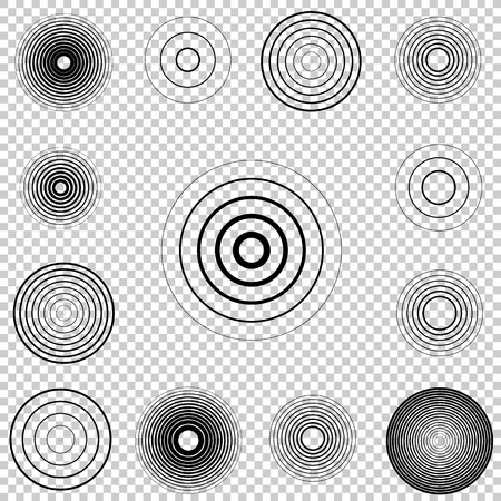 Radar screen concentric circle element set. Sound wave. Circle spin target. Radio station signal. Center minimal radial ripple line outline.