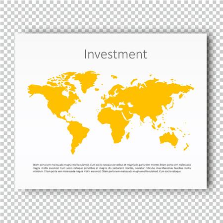 keynote: Investment World Map Presentation slide Template, Business Layout design, Modern Style, Vector design illustration. Yellow color version.