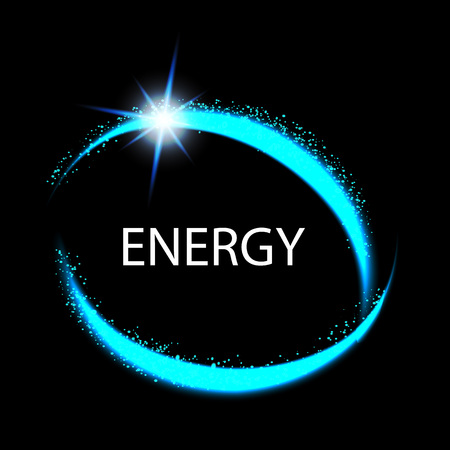 fx: Round energy frame. Shining circle banner. Magic light neon energy circle. Glowing fire ring trace.