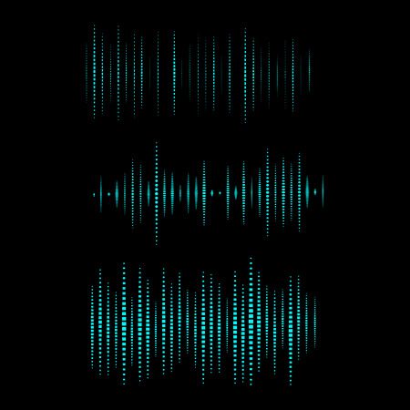 vibrations: Collection of waveform. Vector illustration for club, radio, party, concerts or the audio technology advertising background. Easy to use. Illustration