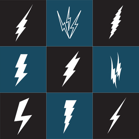 dazzle: Vector lightning silhouette. Lightning Bolt icon set