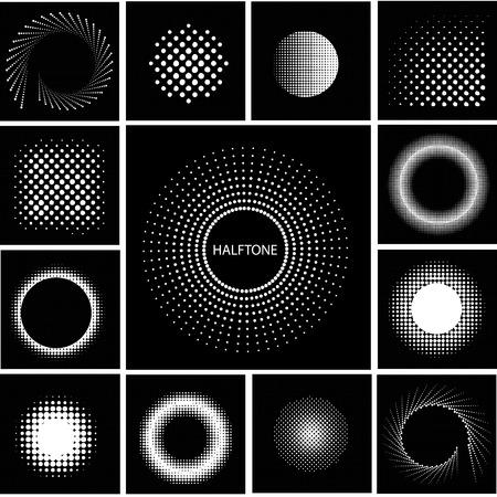 Halftone circle effect set. Easy to use. Ilustração