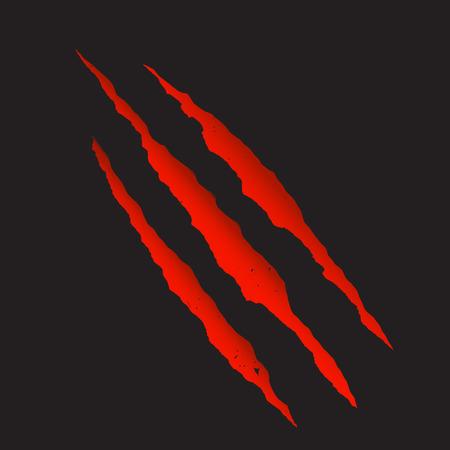 sangrienta garra arañazos profundos rojo ilustración vectorial. Ilustración de vector