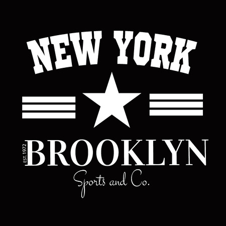 varsity: Varsity New york Brooklyn college university division team sport baseball label typography, t-shirt graphics for apparel.