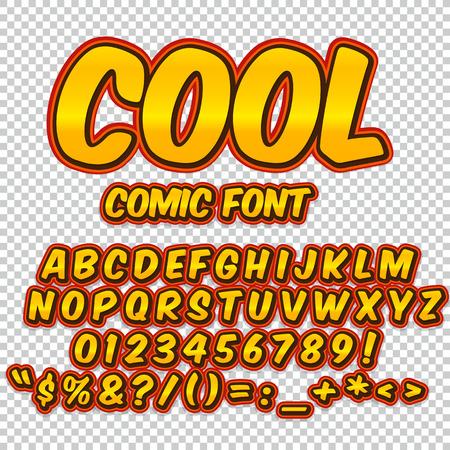 Komische oranje alfabet ingesteld. Letters, cijfers en cijfers voor illustraties voor kinderen websites comics banners.