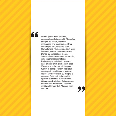 cite: Quote citation Typographical Template, vector design. Light yellow color version. For your commercial project or personal use.