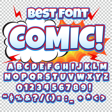 clash: Alphabet collection set. Comic pop art style. Light color version. Letters, numbers and figures for kids illustrations, websites, comics, banners. Illustration