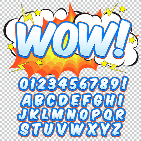Comic orange alphabet set. Letters, numbers and figures for kids illustrations websites comics banners.