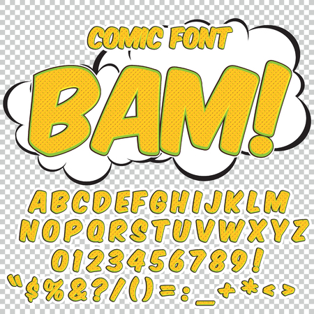 bam: Alphabet collection set. Comic pop art style. Light color version. Letters, numbers and figures for kids illustrations, websites, comics, banners. Illustration
