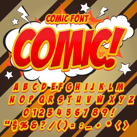fx: Alphabet collection set. Comic pop art style. Light color version. Letters, numbers and figures for kids illustrations, websites, comics, banners. Illustration