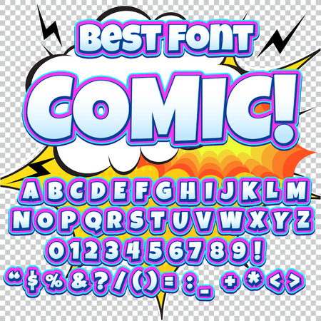 onomatopoeia: Creative high detail comic font. Alphabet of comics, pop art. Letters and figures for decoration of kids illustrations, websites, posters, comics and banners.