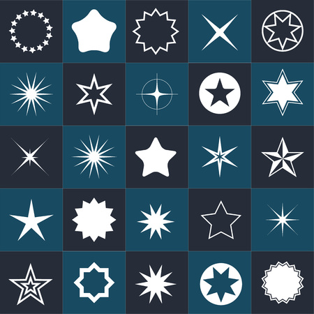 pentacle: Collection star pictogram. Easy to use and edit Illustration