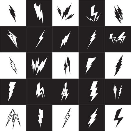 zapping: Vector lightning silhouette. Lightning Bolt icon set