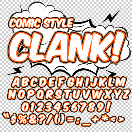Alphabet collection set. Comic pop art style. Light color version. Letters, numbers and figures for kids illustrations, websites, comics, banners. Illustration
