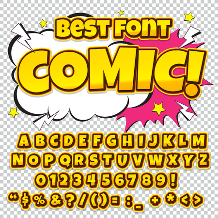 onomatopoeia: Alphabet collection set. Comic pop art style. Light color version. Letters, numbers and figures for kids illustrations, websites, comics, banners. Illustration