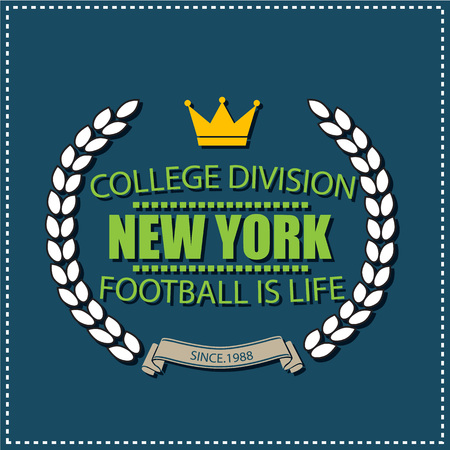 New York college university division football team sport label, emblem typography, t-shirt graphics for apparel. Illustration