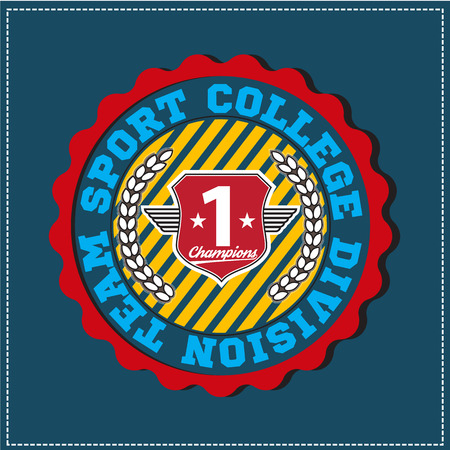 textual: American sport college varsity team division champions emblem, label. Very easy to use for apparel.